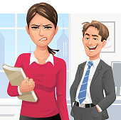 Vector illustration of a man shouting rude words to a young woman walking by in the office. The woman is ignoring it and is looking angry, disgusted and frustrated. Concept for workplace harassment, bullying, cat-calling, verbal sexual harassment and sex discrimination.