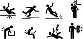 People icons: a variety of common accidents. Fall, trip, slip, hit head, back strain, back ache, electric shock, machinery.