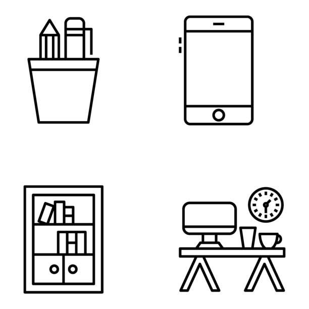 workplace icons collection - stiftehalter stock-grafiken, -clipart, -cartoons und -symbole