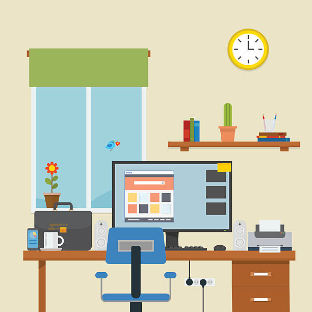 stockillustraties, clipart, cartoons en iconen met workplace in a room - photography curtains