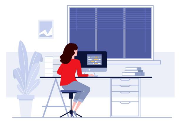 ilustrações, clipart, desenhos animados e ícones de local de trabalho no escritório. mulher de negócios, trabalhando no computador em sua mesa. ilustração em vetor. espaço de trabalho. - carteira