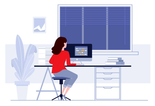 workplace in office. business woman working on computer at her desk. vector illustration. workspace. - уединение stock illustrations