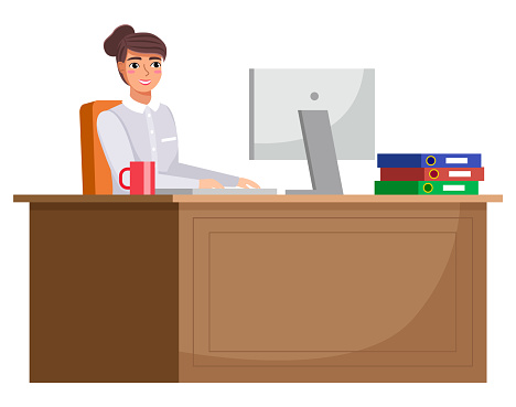 Workplace in office. Cabinet with workspace with table, comfortable armchair and computer