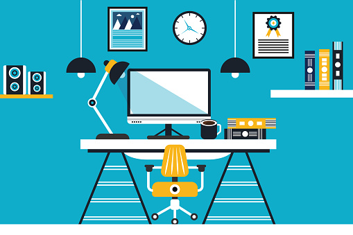 Workplace in office concept