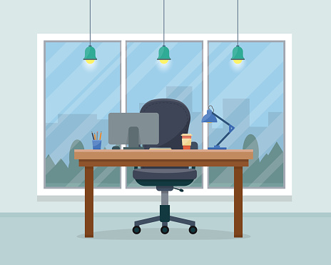 Workplace in office clipart