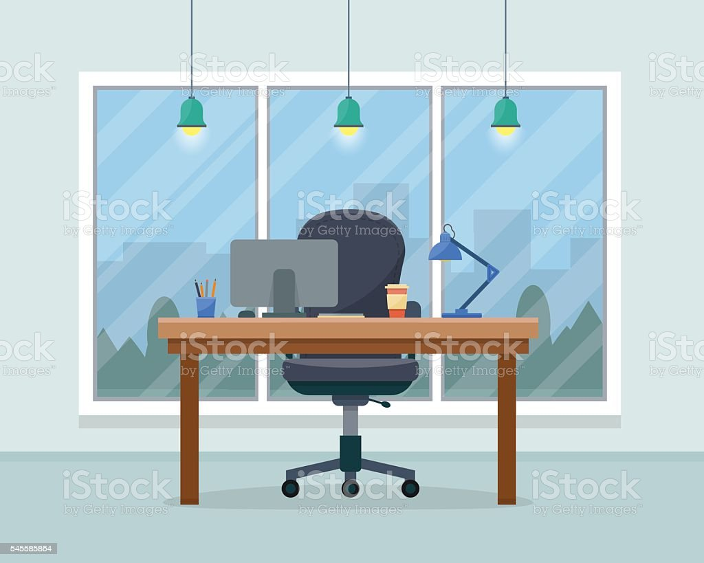 Workplace in office vector art illustration