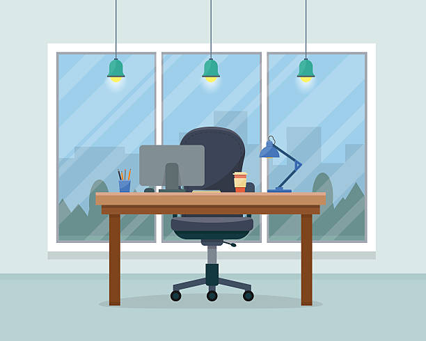 workplace in office - office stock illustrations