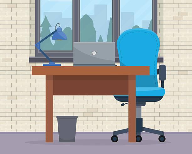 arbeitsplatz im büro. - schultischrenovierung stock-grafiken, -clipart, -cartoons und -symbole