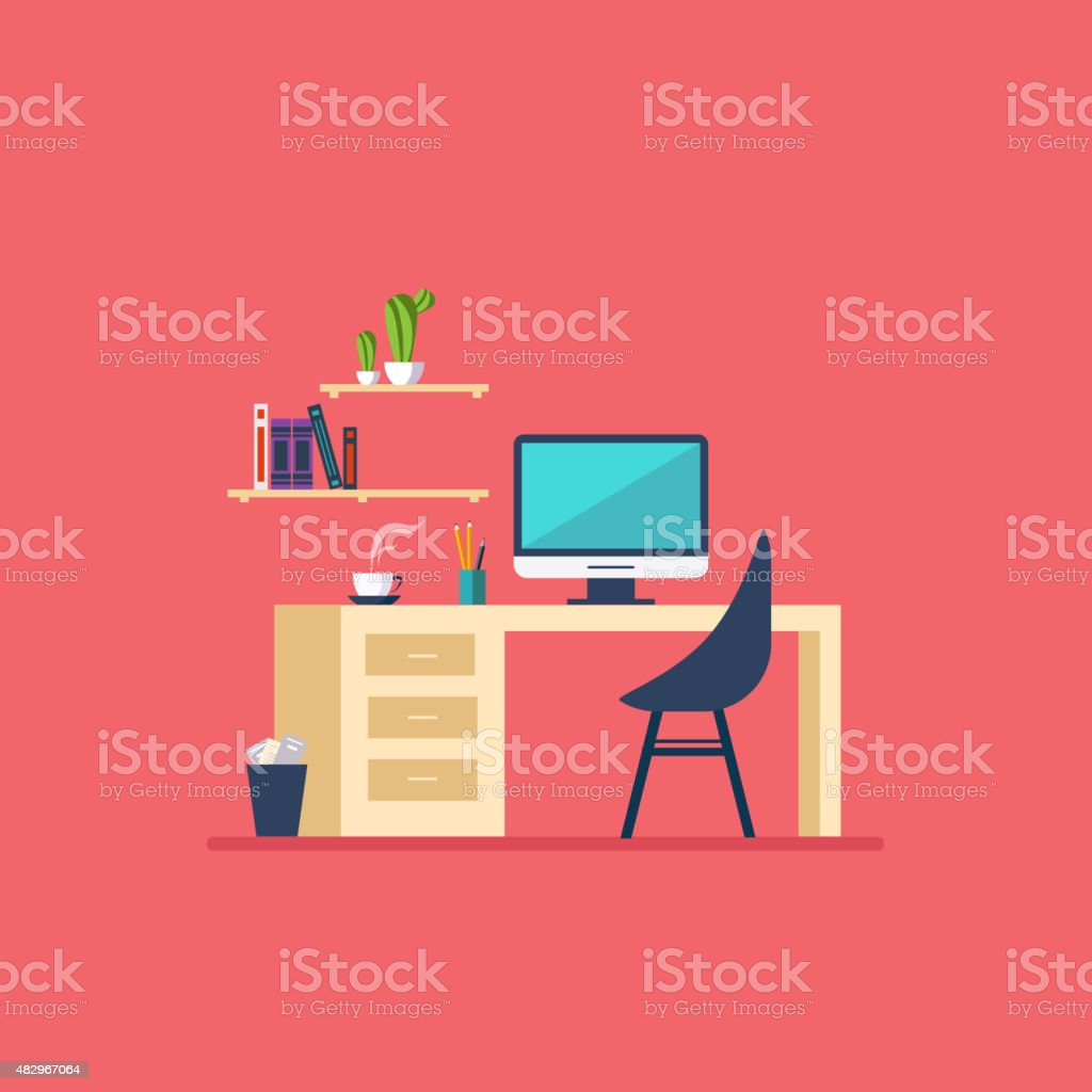 Workplace in room Flat minimalistic style vector art illustration