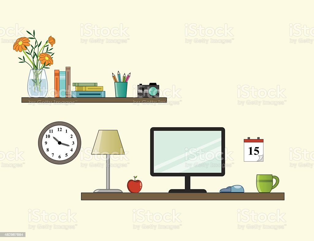 Workplace in room - vektor flat style vector art illustration