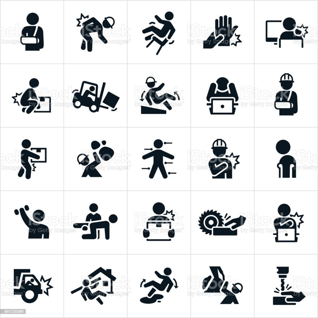 Workplace Injury Icons vector art illustration