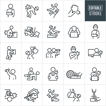 A set of workplace injury icons that include editable strokes or outlines using the EPS vector file. The icons include a worker with a broken arm, worker wearing hardhat and hurting back while bending over, person falling back on work chair, wrist injury, person hurting back while lifting, worker crashing forklift, worker slipping and falling, worker in rock slide, worker with shoulder injury, worker at computer suffering from stiff muscles, rehabilitation after injury, hand being cut by saw on job-site, dump truck driver crashing, construction worker falling on job-site, person slipping and falling on liquid, construction worker being hit by heavy machinery and a person getting hand injured in drill press.