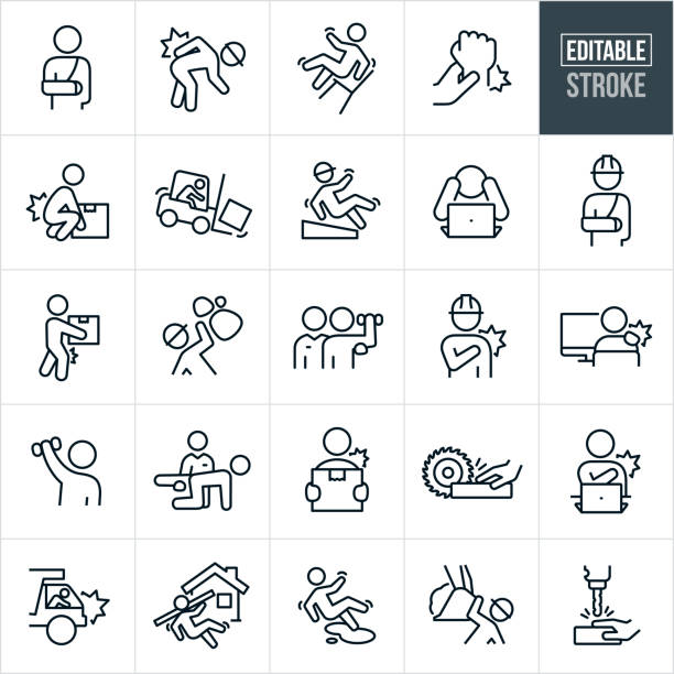 Workplace Injury Thin Line Icons - Editable Stroke A set of workplace injury icons that include editable strokes or outlines using the EPS vector file. The icons include a worker with a broken arm, worker wearing hardhat and hurting back while bending over, person falling back on work chair, wrist injury, person hurting back while lifting, worker crashing forklift, worker slipping and falling, worker in rock slide, worker with shoulder injury, worker at computer suffering from stiff muscles, rehabilitation after injury, hand being cut by saw on job-site, dump truck driver crashing, construction worker falling on job-site, person slipping and falling on liquid, construction worker being hit by heavy machinery and a person getting hand injured in drill press. crash stock illustrations