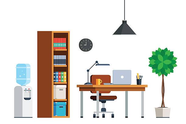 workplace interior furniture - テーブル 無人点のイラスト素材/クリップアート素材/マンガ素材/アイコン素材