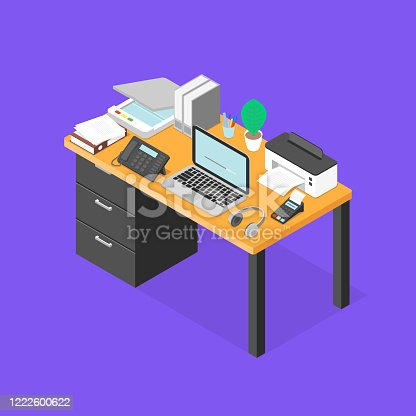 istock Workplace Isometric Vector Illustration 1222600622