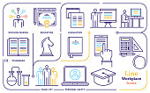Line icon set vector illustrations of workplace privacy, employment, legal activity.