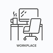 Workplace line icon. Table, computer monitor, chair and coffee mug vector illustration. Workspace interior linear sign.