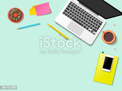 Modern workspace vector set with stationery on pastel green background. Flat lay top view mock up with realistic mobile phone, laptop, notebook and donut. Blog header. Home office, freelance concept.