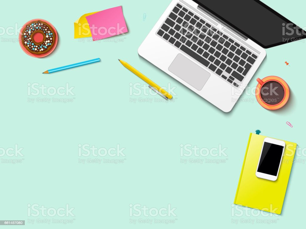 Workplace mock-up template vector art illustration