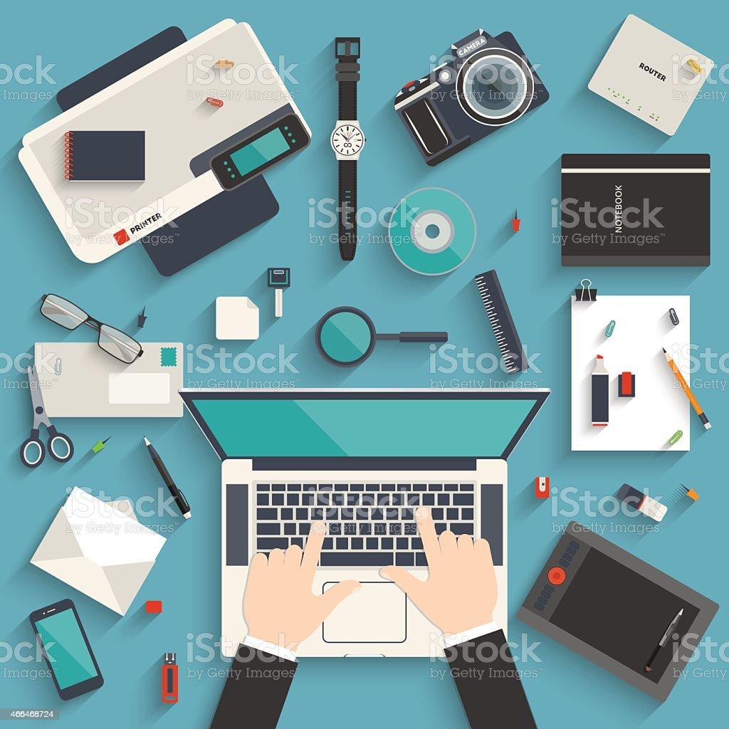 Workplace of a designer vector art illustration