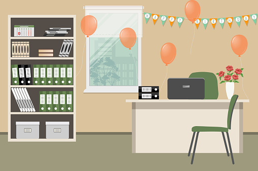 Workplace of an office worker, decorated for his birthday