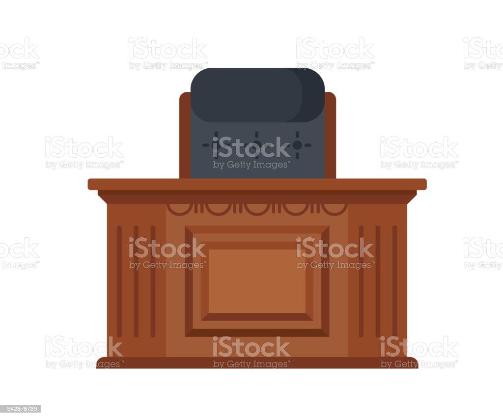 Local de trabalho do juiz, mesa de madeira entalhada e uma cadeira de trabalho - ilustração de arte em vetor