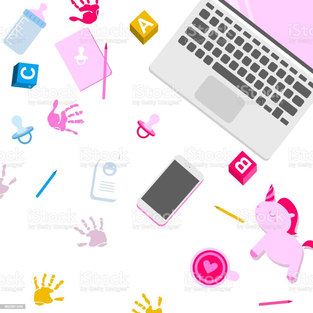 Workplace of mother workplace of mother - stockowe grafiki wektorowe i więcej obrazów aparat fotograficzny royalty-free