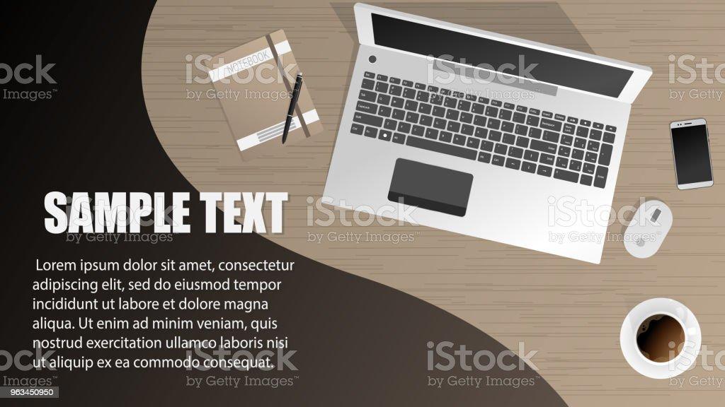 İşyeri Ofis işçi, tasarımcı. Vektör arka plan - Royalty-free Ahşap Vector Art