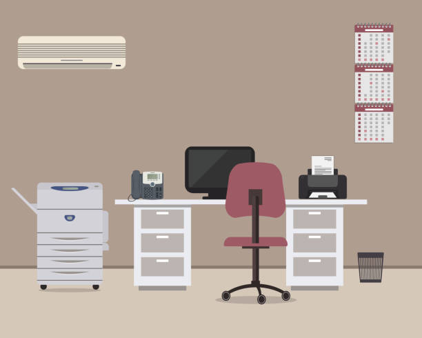 Workplace of office worker with a white desk, a purple chair, a copy machine and other objects vector art illustration