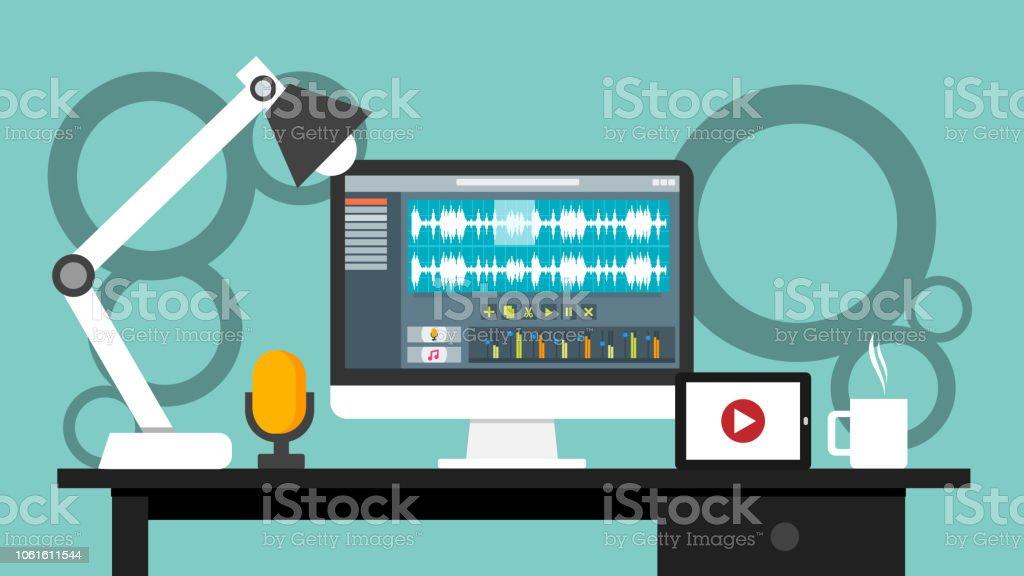 Lieu de travail de l application du logiciel d interface éditeur audio et  vidéo a8489766f336