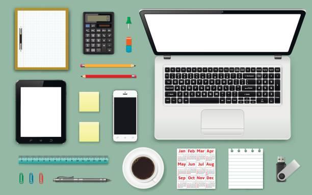 arbeitsplatz büro und geschäft arbeiten elemente gesetzt. mobile geräte und dokumente - tischkalender stock-grafiken, -clipart, -cartoons und -symbole