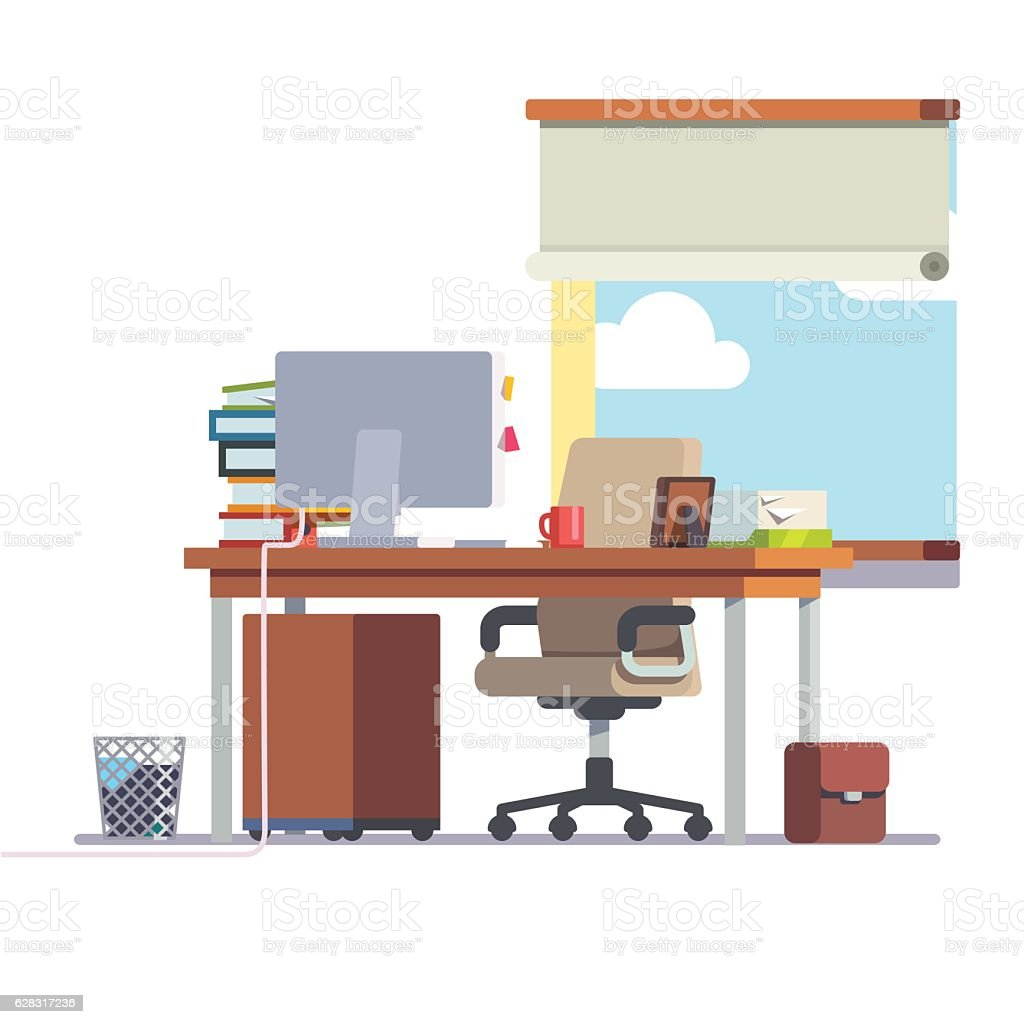 Workplace office desk with a computer vector art illustration