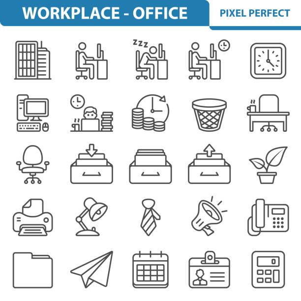 bildbanksillustrationer, clip art samt tecknat material och ikoner med arbetsplats - office-ikoner - byrålåda