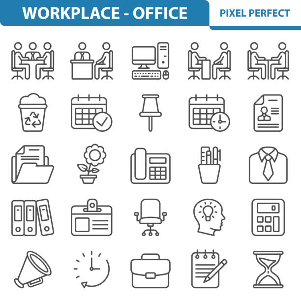 workplace - office icons - ring binder stock illustrations