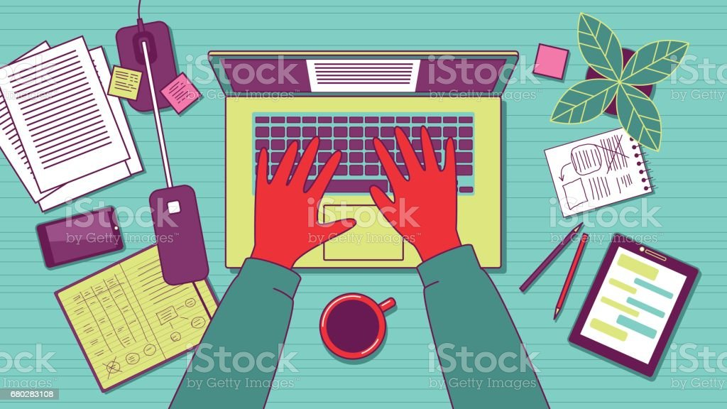 Workplace overhead view. vector art illustration