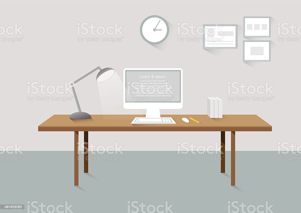 Chambre le lieu de travail de bureau créatif éléments de design