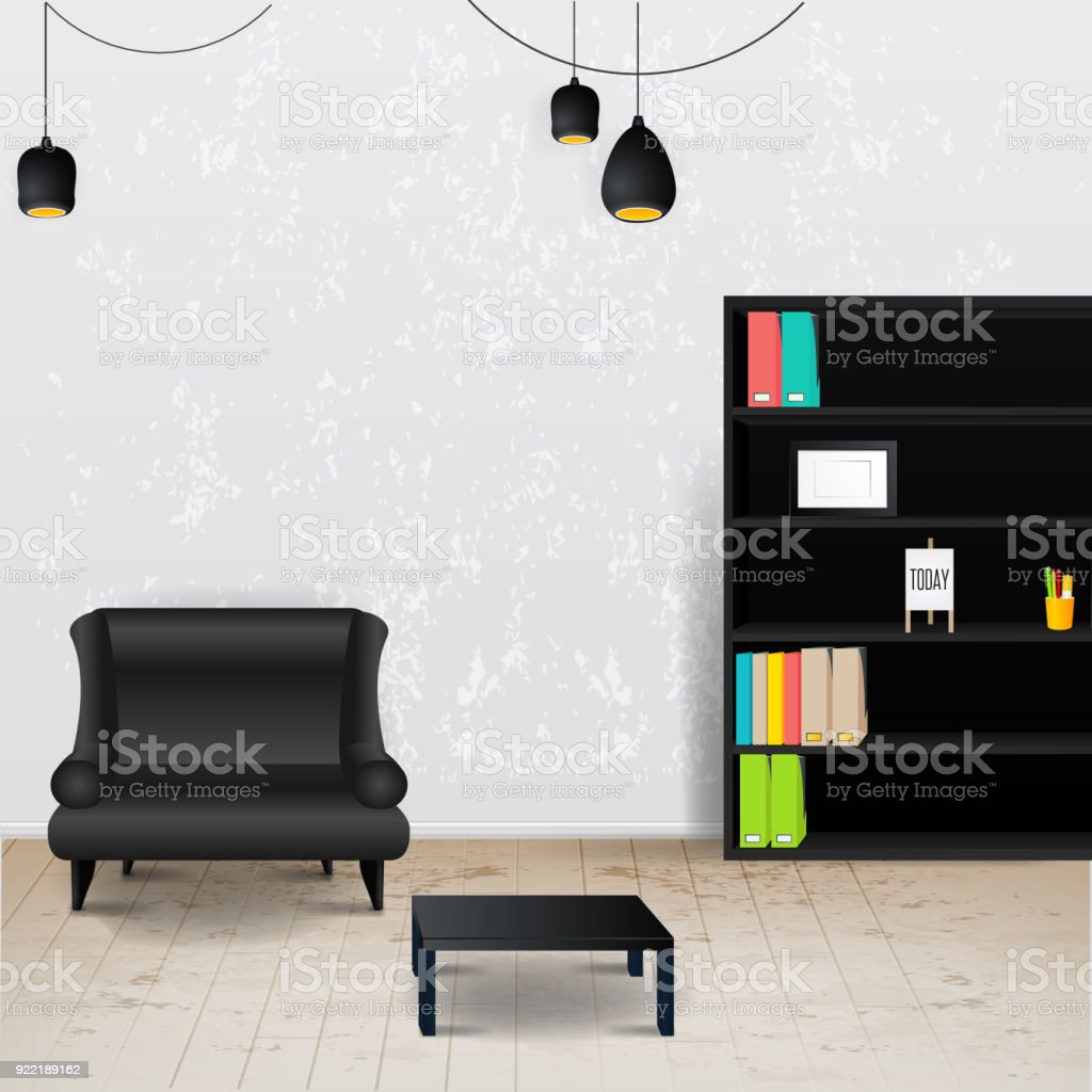 Arbeitsplatzzimmer Vektorillustration Des Modernen Büros Stilvolle ...