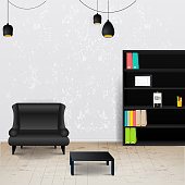 Workplace room. Vector illustration of modern office.