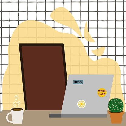 Workplace room with chair, laptop, table, cup and plant. Modern interior on white checked background. Cabinet or home office. Colorful vector illustration in flat cartoon style.