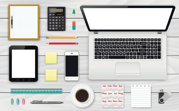arbeitsplatz draufsicht. büro- und geschäftshaus arbeiten elemente gesetzt. - tischkalender stock-grafiken, -clipart, -cartoons und -symbole