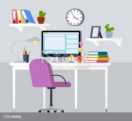 Design of modern home office designer workplace, homeschooling
