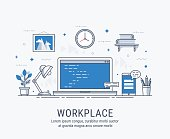 Workplace with computer. Flat modern vector illustration for web.
