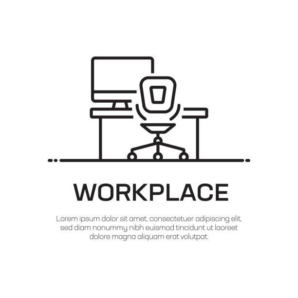 arbeitsplatz vector line icon-einfache dünnlinie icon, premium-qualitäts-design-element - büro zukunft und niemand stock-grafiken, -clipart, -cartoons und -symbole
