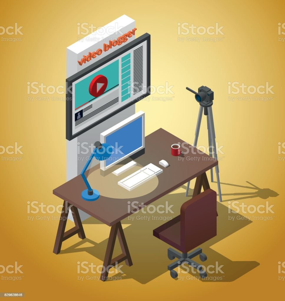 Workplace video blogger. A table with a chair, a camera on a tripod, a cup of coffee Vector isometric Illustration векторная иллюстрация