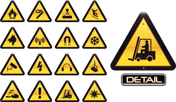arbeitsplatz warnung zeichen - arbeitshunde stock-grafiken, -clipart, -cartoons und -symbole