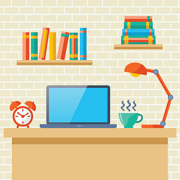 workplace with a laptop - telecommuting stock illustrations, clip art, cartoons, & icons