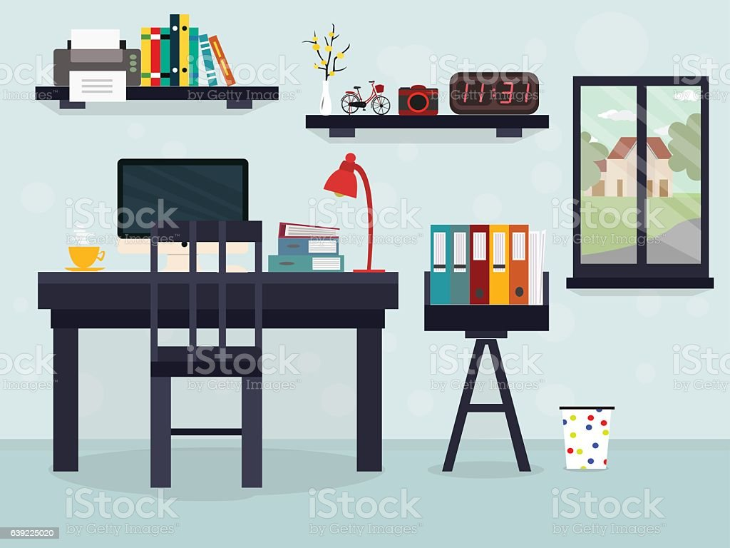Workplace with coffee with window and other things illustration flat vector art illustration