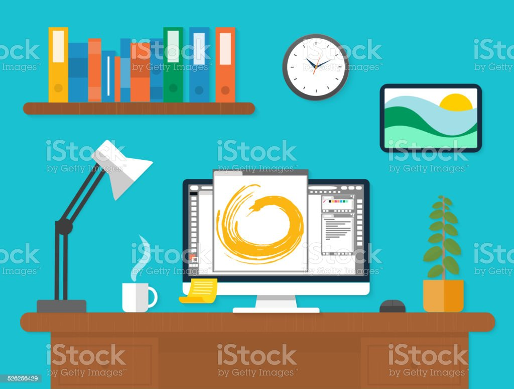 Workplace with laptop and documents vector art illustration