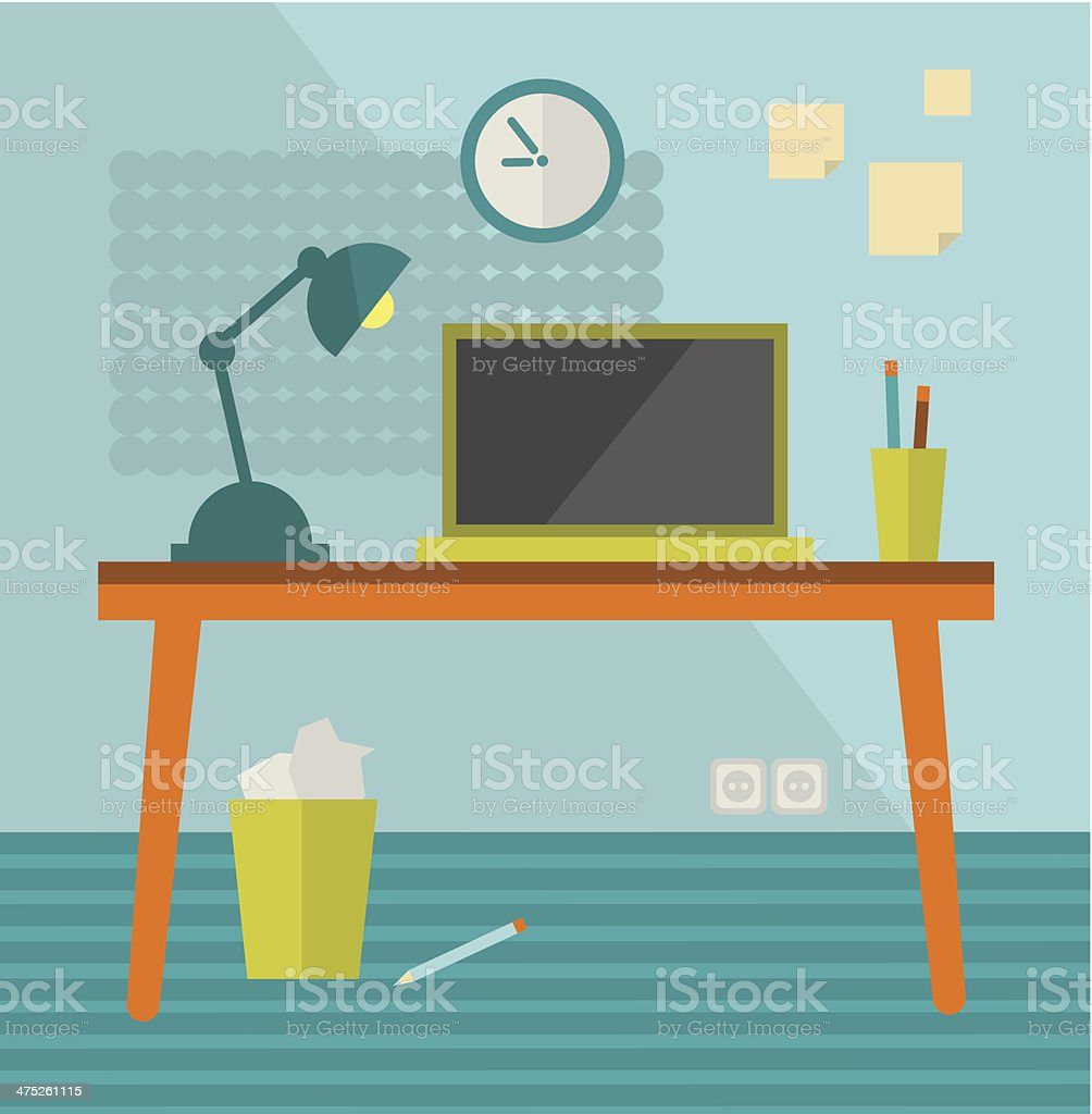 Workplace with moder computer on retro table. vector art illustration
