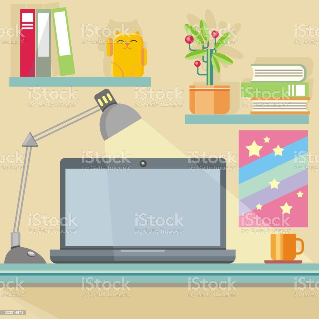 Arbeitsplatz Mit Notebook Lampe Bücher Und Möbel Stock Vektor Art